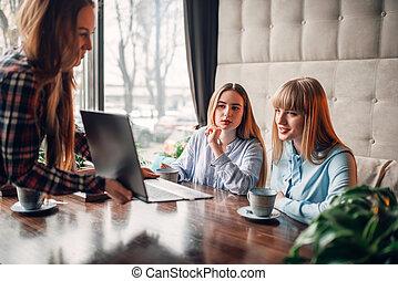 marketing, draagbare computer, koffiehuis, bedrijfspresentatie
