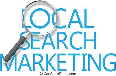 marketing, durchsuchung, lokal, werkzeug, finden