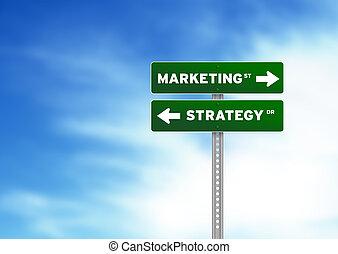 marketing, e, estratégia, sinal estrada