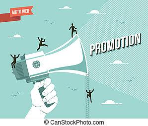 marketing, előléptetés, ábra, háló