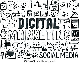 marketing, elementi, set, digitale, scarabocchiare