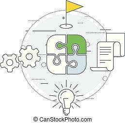 marketing, estratégia, ícone, -, internet, anunciando, e, mídia, planificação