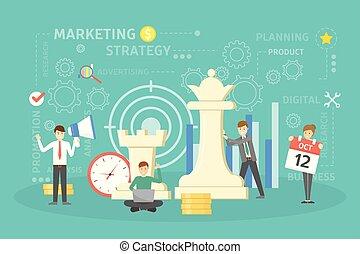 marketing, estratégia, concept.