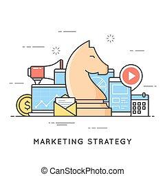 marketing, estratégia, promoção, campanha, anunciando, planning.