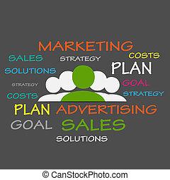 marketing, estratégias, tag, nuvem