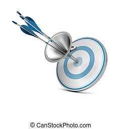 Marketing Funnel, Attract Consumer Concept - One blue target...