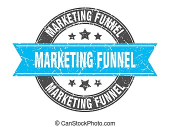 marketing funnel round stamp with ribbon. label sign