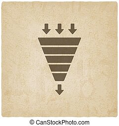 marketing funnel symbol old background