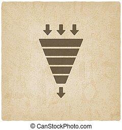 marketing funnel symbol old background