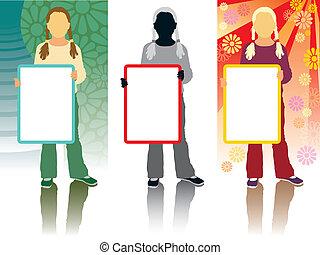Marketing girl - Silhouette schoolgirl holding a blank ...
