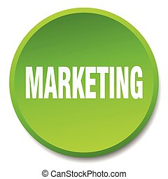 marketing green round flat isolated push button