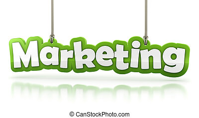 Marketing green word text isolated on white background