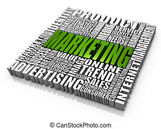 Marketing - Group of marketing related words. Part of a ...
