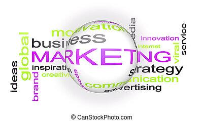 marketing, handel strategie, woord, wolk, tekst, concept