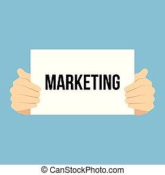 marketing, het tonen, papier, man, tekst