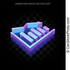 Marketing icon: 3d neon glowing Decline Graph made of glass, EPS 10 vector.