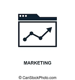 Marketing icon. Monochrome style design from business icon collection. UI. Pixel perfect simple pictogram marketing icon. Web design, apps, software, print usage.