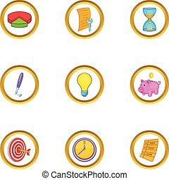 Marketing icon set, cartoon style