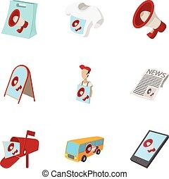 Marketing icons set, cartoon style