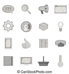 Marketing icons set, monochrome style