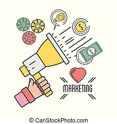 marketing icons with megaphone and cash money