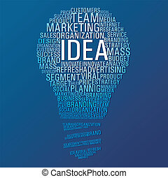 Light bulb shape with marketing concept words on blue background. Vector file layered for easy manipulation and custom coloring.