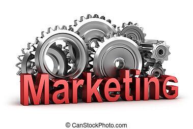marketing, in, de, beweging