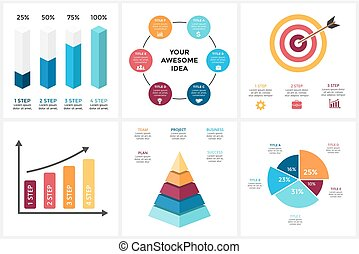 Marketing infographic, cycle diagram, global business graph, presentation chart. 3, 4, 5, 6 options, parts, steps, process. Target market, 3D pyramid, percentage columns.