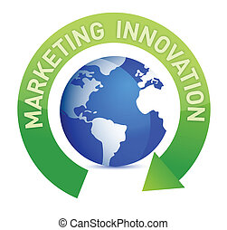 Marketing innovation cycle and globe illustration