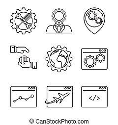 marketing internet, línea, iconos