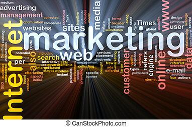 marketing internet, palabra, nube, caja, paquete