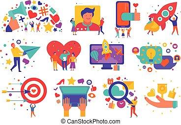 marketing, jogo, digital, ícones