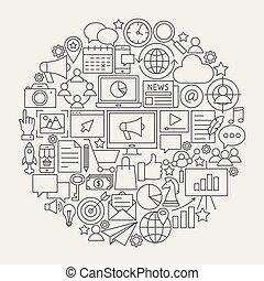 Marketing Line Icons Circle