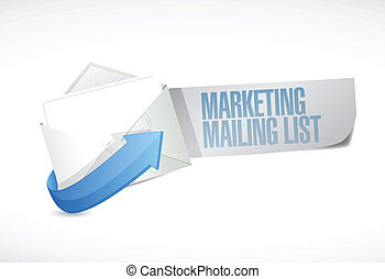 marketing mailing list email illustration design over a white background