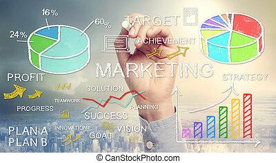 marketing, mano, disegno, concetti affari