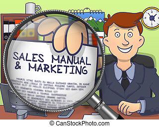 marketing, manuale, vendite, magnifier., scarabocchiare, attraverso, design.