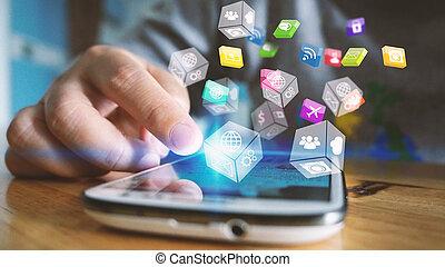 marketing., media, sociale, concept.