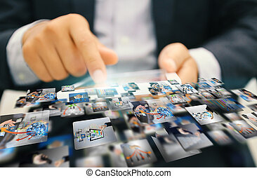 marketing., medier, sociale, concept.