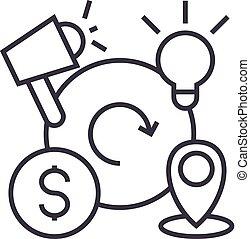 marketing, mistura, vetorial, linha, ícone, sinal, ilustração, experiência, editable, golpes