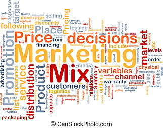 Background concept wordcloud illustration of marketing mix strategy