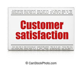 marketing, nachrichten, concept:, zeitung schlagzeile, kundenzufriedenheit, weiß, hintergrund, 3d, render