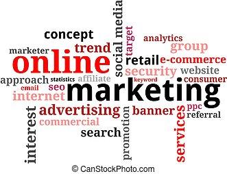 marketing, -, nuvem, palavra, online