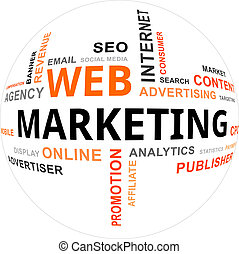marketing, -, nuvola, parola, web