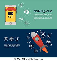 marketing online big sale start up design banner