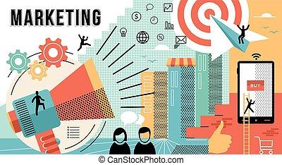 Marketing online concept design modern business