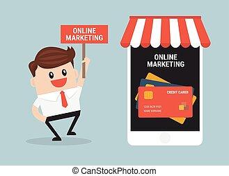 marketing, online, desenho, vector., apartamento