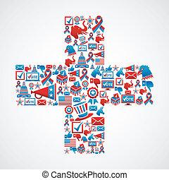 marketing, ons, verkiezingen, pictogram, in, kruis