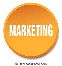 marketing orange round flat isolated push button