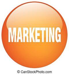 marketing orange round gel isolated push button