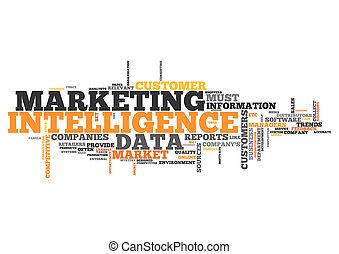 marketing, palavra, nuvem, inteligência